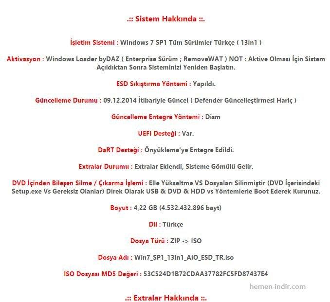 Windows 7 SP1 13in1 Turkce Aralik 2014 indir