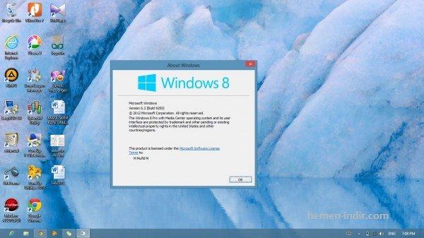 Windows 8 Pro Turkce x32 x64 Msdn Orjinal Full Download İndir